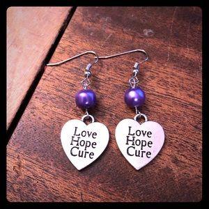Purple Pearl Beaded Love Hope Cure Earrings